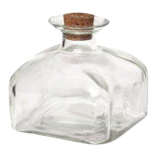 Square Clear Glass Bottle With Cork Top