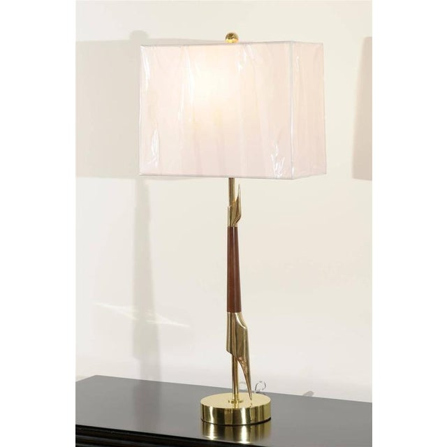 Restored Pair of Elegant Rembrandt Rocket Lamps in Walnut and Brass For Sale - Image 10 of 11