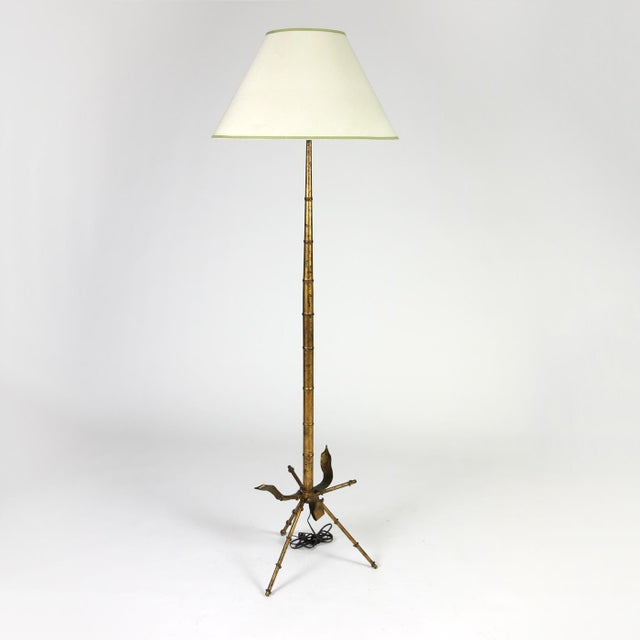 Art Deco Mid Century Gilded Tole Bamboo Form Tripod Floor Lamp For Sale - Image 3 of 9