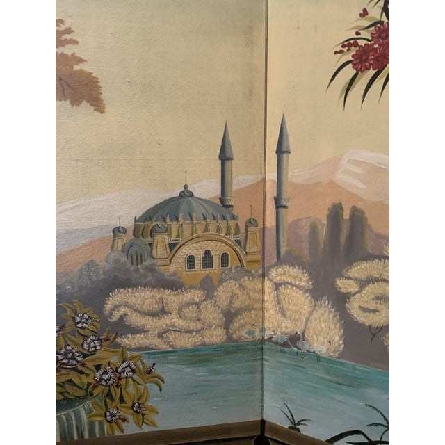 Maitland - Smith Vintage Maitland Smith Hand Painted 4 Panel Folding Screen For Sale - Image 4 of 13