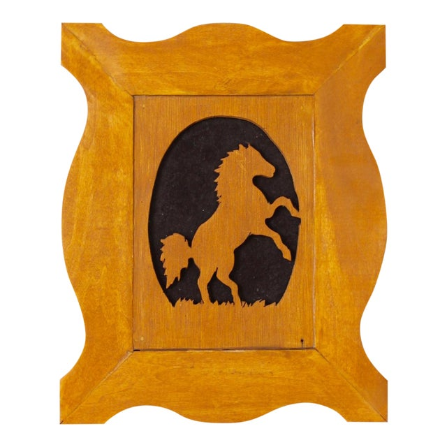 Vintage Wood Silhouette Horse Art For Sale