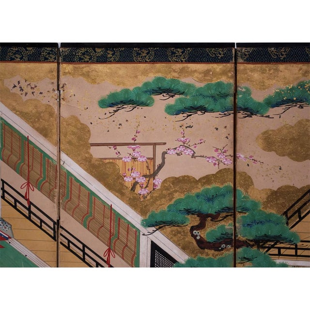 17th C. Japanese the Tale of Genji Byobu Screen For Sale - Image 10 of 13