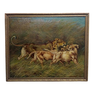 Paul Herzel -Lioness With Her Three Cubs - Victorian Oil Painting For Sale
