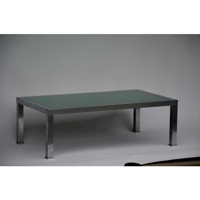 Guy Lefevre 1970s Guy Lefevre Brushed Steel and Emerald Mirror Cocktail Table For Sale - Image 4 of 9