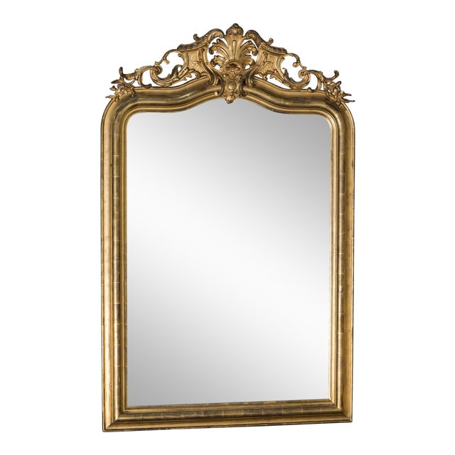 Antique French Louis Philippe Mirror with a Cartouche circa 1890 For Sale