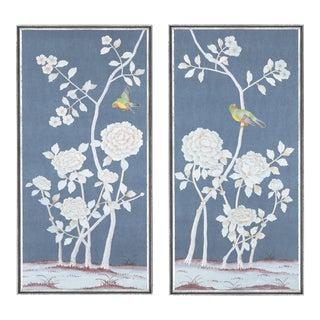 "Jardins en Fleur ""Brympton"" Chinoiserie Hand-Painted Silk Diptych by Simon Paul Scott - a Pair For Sale"