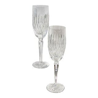 Set of 2 Waterford Rosemare Wedding Toasting Glasses Champagne Flutes For Sale