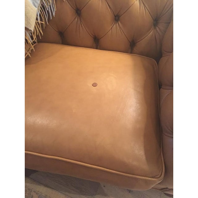Ethan Allen 3 Seat Chesterfield Style Leather Tufted Sofa For Sale - Image 9 of 10