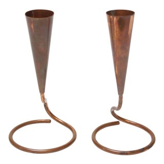 Pair of Danish Modern Copper Candleholders For Sale
