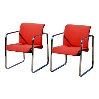 Peter Protzman for Herman Miller Chrome Girard Fabric Chairs- a Pair For Sale