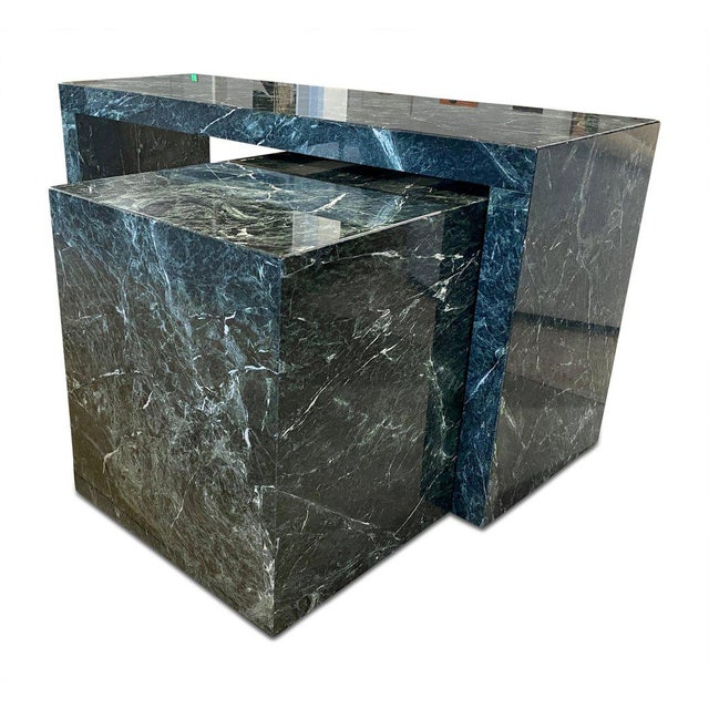 This gorgeous green marble table comes with a marble return that is seperate from the desk and can be moved in many...