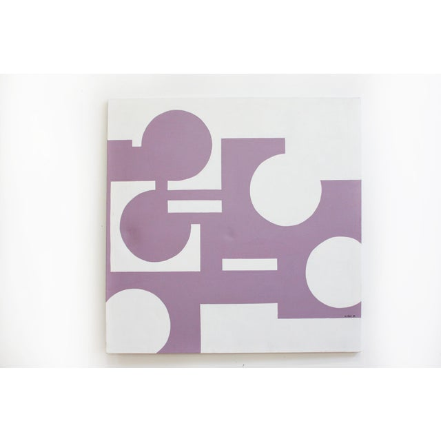 Abstract Geometric Painting 1974- 40x40 For Sale In San Francisco - Image 6 of 6