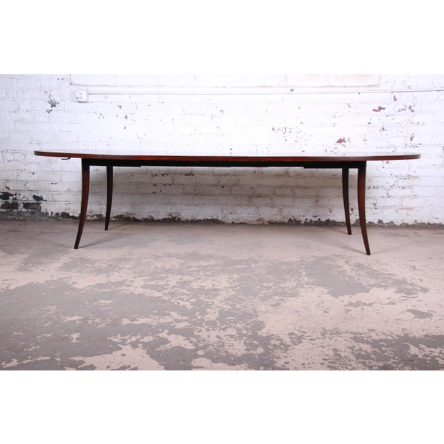 Contemporary Harvey Probber Mid-Century Modern Saber Leg Rosewood Extension Dining Table, Newly Refinished For Sale - Image 3 of 13