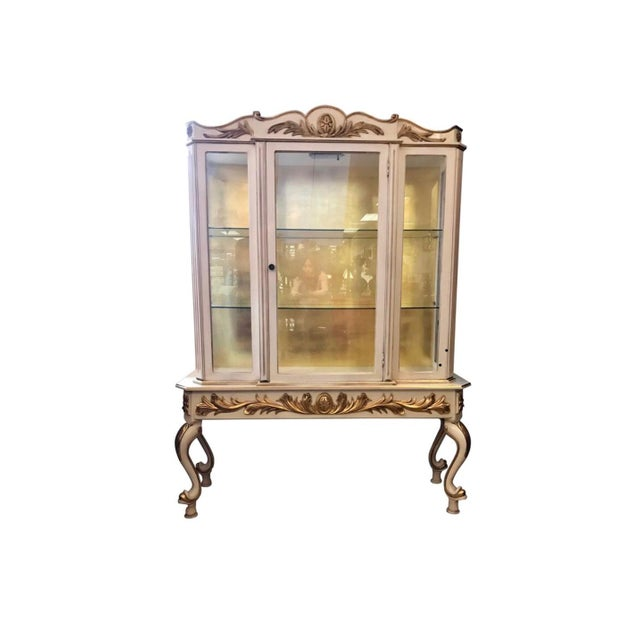 Italian Cream Painted and Gold Gilt Display China Cabinet Vitrine For Sale - Image 10 of 10