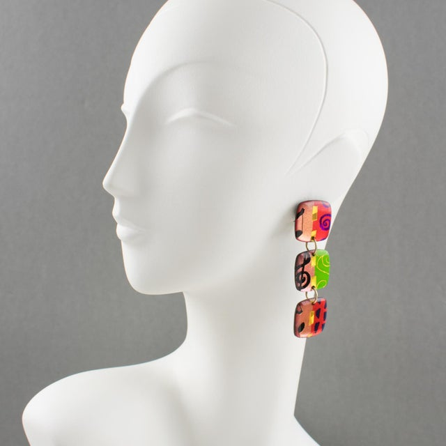 Exquisite Italian designer studio Lucite or Resin dangling clip on earrings. Oversized geometric shape in multicolor...