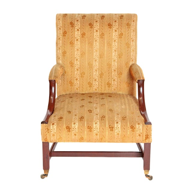 """18th Century George III Upholstered """"Gainsborough"""" Library Chair For Sale"""