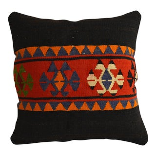"Vintage Handmade Kilim Rug Pillow Cover Turkish Throw Pillow - 16"" X 16"" For Sale"