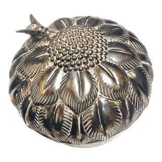 Mid Century Silver Flower Jewelry Box For Sale