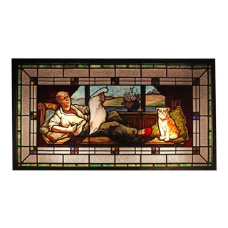 Stained Glass Window - Man With Dog For Sale