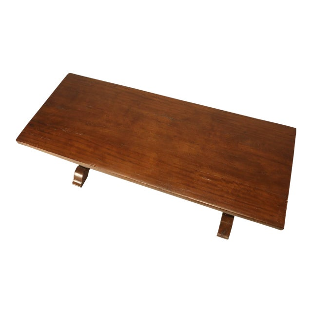 French Trestle Table in Solid Mahogany For Sale