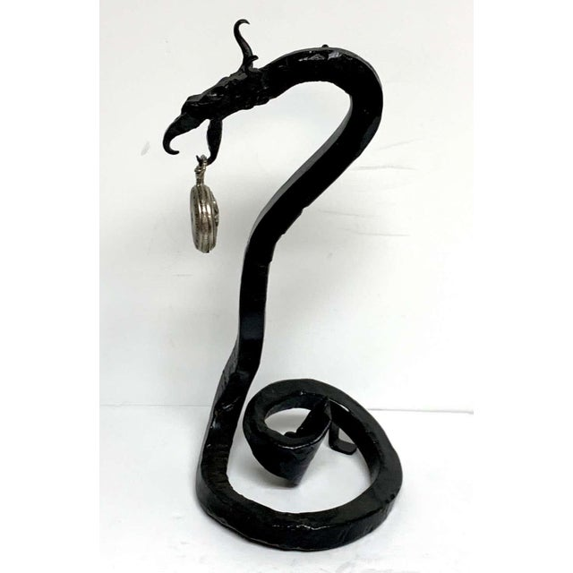 Black Antique English Wrought Iron Dragon Motif Pocket Watch Holder For Sale - Image 8 of 12