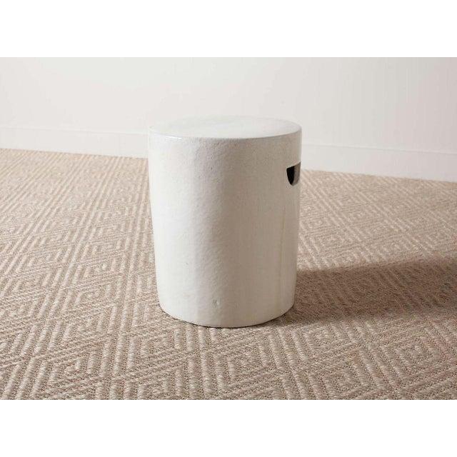 2010s Modern White Ceramic Stool For Sale - Image 5 of 5
