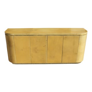 1970s Mid-Century Modern Goatskin Sideboard With Brass Detail For Sale