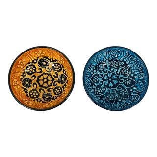 "Turkish Handmade Floral Ceramic 5"" Bowl 2 Piece Set For Sale"