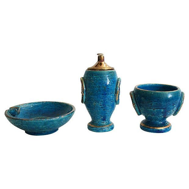 Mid-Century Italian Pottery Smoke Set - Set of 3 For Sale - Image 4 of 5
