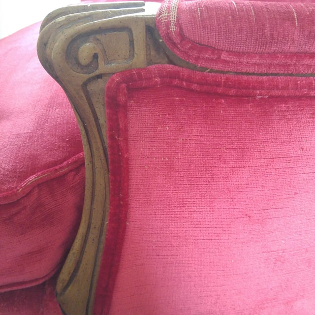 W & J Sloane French Provincial Raspberry Red Velvet Chairs - A Pair For Sale - Image 10 of 10