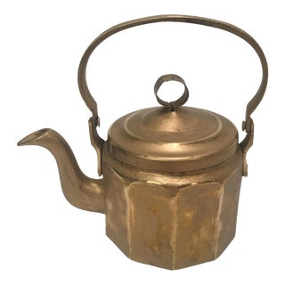 Rustic Brass Plated Tea Pot For Sale