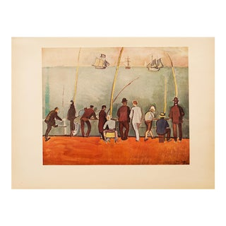 """1954 Raoul Dufy, """"Fishermen With Lines"""" First Edition Lithograph For Sale"""