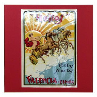 1920's Original Vintage Spanish Fruit Crate Label - Helios (Lady With Horses on Carriage, Yellow Frame) For Sale