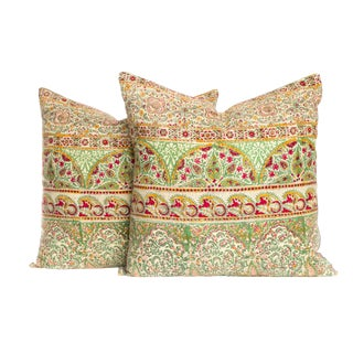 Vintage 1970s Block Print Pillows - A Pair For Sale
