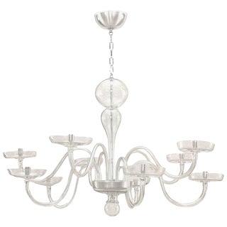 1930s Italian Murano Clear Glass Chandelier For Sale