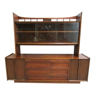 Lane Scandia Mid-Century Danish Modern Walnut Credenza China Cabinet Bookcase