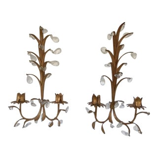 Vintage Italian Tole Gilt Sheaves of Wheat Candle Sconces - a Pair