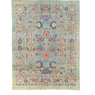 Oversize Modern Oushak Handmade Multicolor Floral Green Wool Rug For Sale