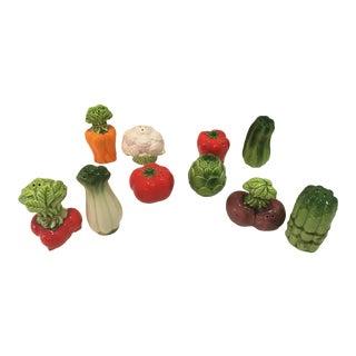 Assorted Vintage Vegetable Salt & Pepper Shakers, Japan - Set of 10 For Sale