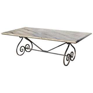 Wrought Iron Dining Table With Faux Painted Marble Top For Sale