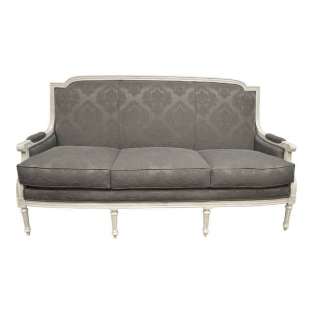 Louis XVI Style Painted 3 Seater Sofa Newly Upholstered in a Fine Charcoal  Grey Damask Design Fabric.