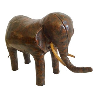 Abercrombie & Fitch Distressed Leather Elephant Footstool