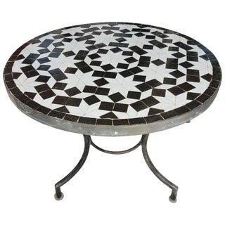 Moroccan Black & White Mosaic Side Table For Sale