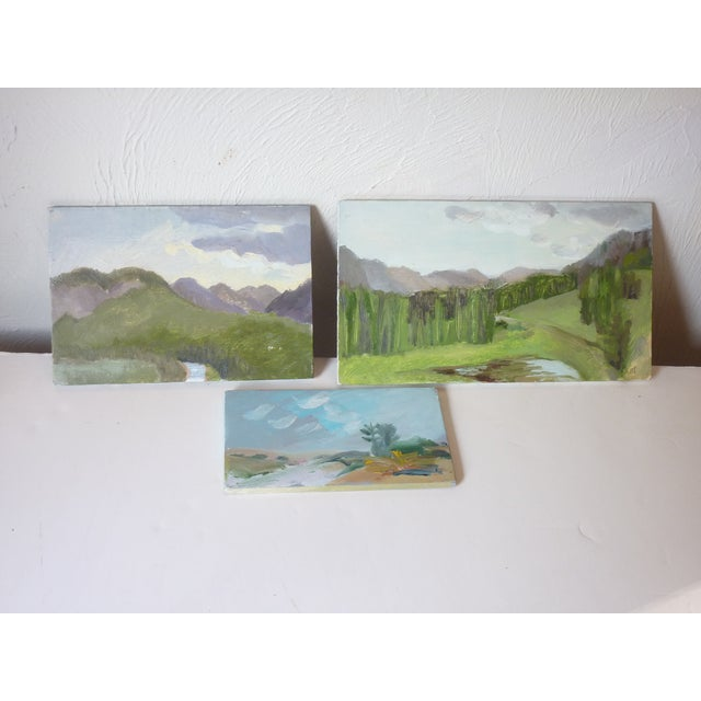 20th Century oil on masonite sketches by Susan Scott. She is a Canadian artist, two signed on the back and dated 1982,...