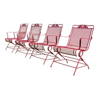 Vintage Mid Century Modern Wrought Iron & Metal Mesh Bouncer Patio Chairs - Set of 4 For Sale
