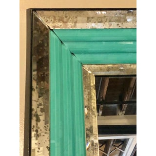 Pair of Art Deco Wall, Console or Pier Mirrors With Turquoise Beveled Frames Preview