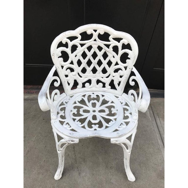 Traditional Set of Four Early Cast Iron Garden Chairs For Sale - Image 3 of 5