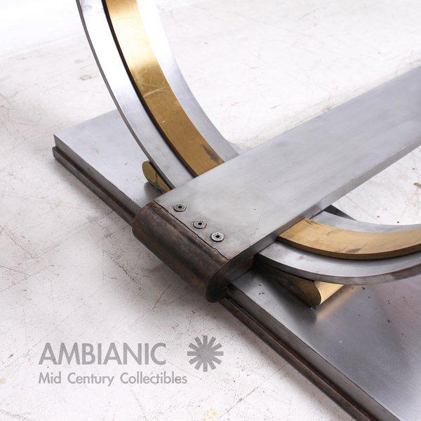 1960s Steel and Brass Dining Table Base Attributed to Arturo Pani For Sale - Image 5 of 7