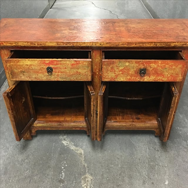 Vintage Asian-Style Distressed Sideboard - Image 6 of 8