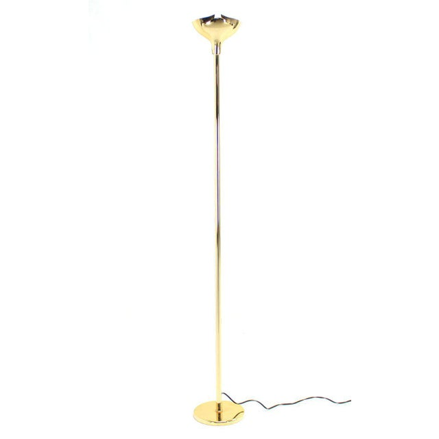 Gianfranco Frattini Brass Floor Lamp With Dimmer Scallop / Lotus Shade For Sale - Image 9 of 9